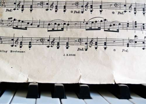 Music Notes and sheet music on a piano free photo