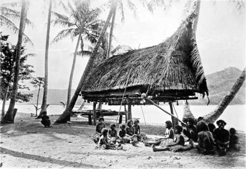 Natives at Mairy Pass in New Guinea in 1885 free photo