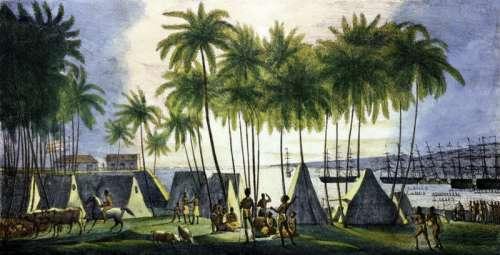 Natives at the port of Honolulu, Hawaii free photo