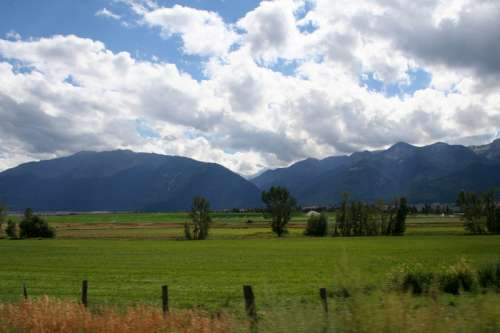 Near Enterprise, Oregon with landscape with clouds free photo