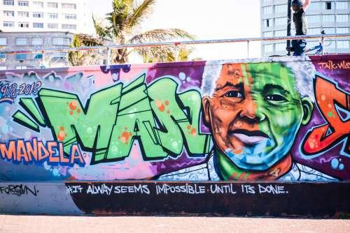 Nelson Mandela Graffiti on wall free photo