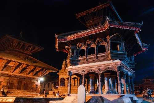 Nepal temple at night with buildings free photo
