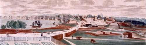 New Orleans Cityscape and port in 1803 in Louisiana free photo