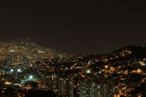 Night Cityscape and lights in Medellin, Colombia free photo