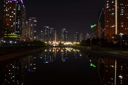 Night Cityscape in Incheon, South Korea free photo
