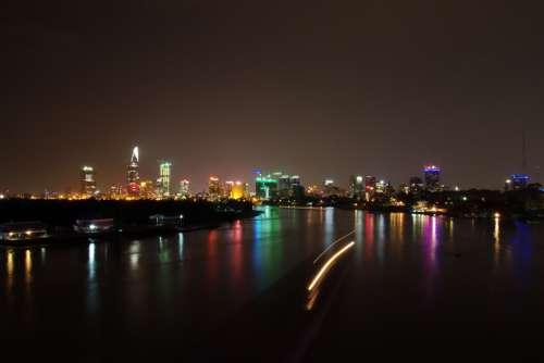 Night Cityscape in Saigon, Vietnam free photo