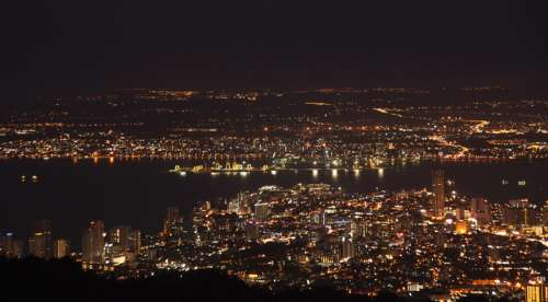 Night cityscape of Penang, Malaysia free photo