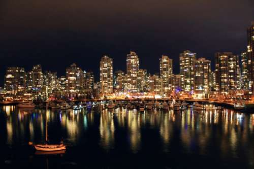 Night Skyline across the water in Vancouver, British Columbia, Canada free photo
