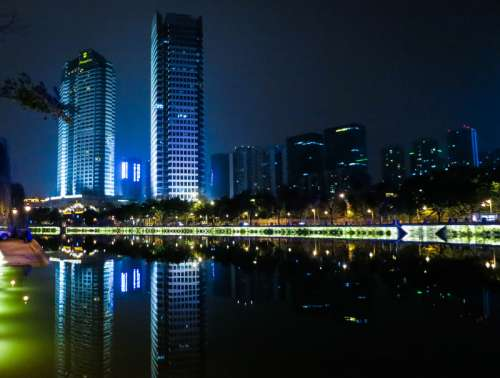 Night Time Buildings and Towers in Chengdu, Sichuan, China free photo