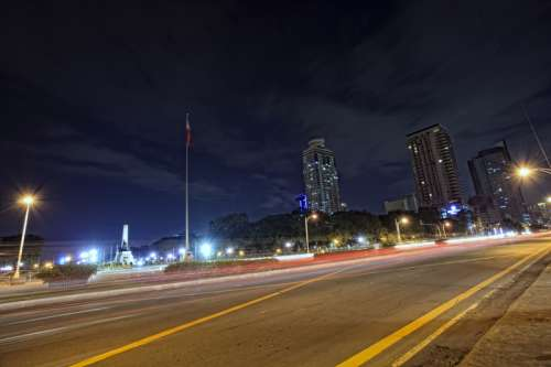 Night time Lights on the road in Manila, Philippines  free photo