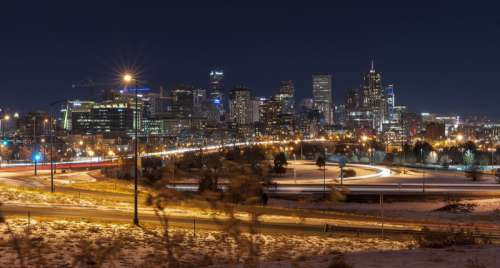 Night time Skyline of Denver, Colorado free photo