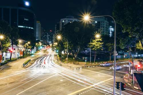 Night Time, Time-Lapse of Singapore Streets free photo