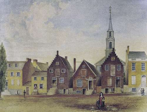 North Pearl Street from Maiden Lane North in 1805 in Albany, New York free photo