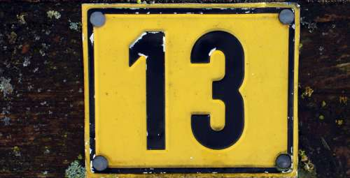 Number 13 on a road sign thirteen free photo