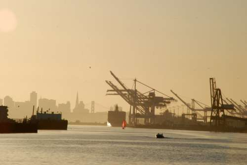 Oakland Harbor with ships in California free photo