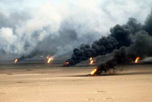 Oil well fires rage outside Kuwait City in 1991 in the Gulf War free photo