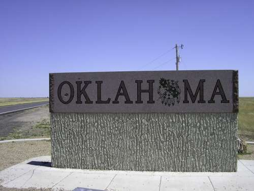 Oklahoma welcoming sign at the panhandle free photo