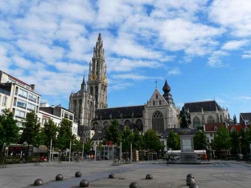 Old City Square of Antwerp, Belgium free photo