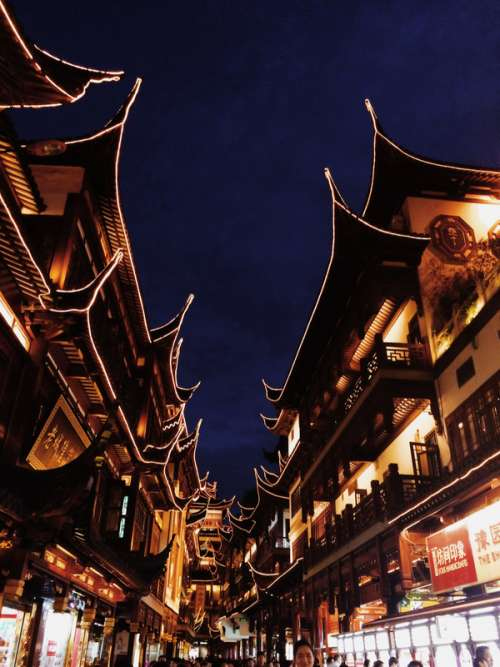 Old Cultural Town at Night in Shanghai, China free photo