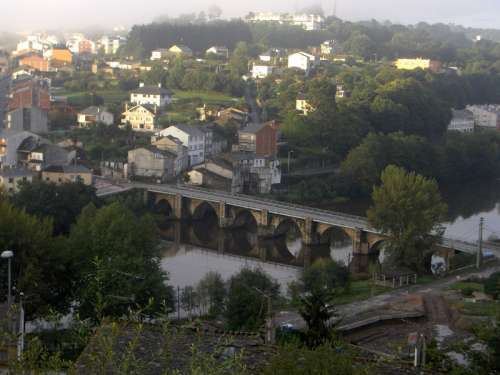 Old Roman bridge over the Miño river in Lugo, Spain free photo