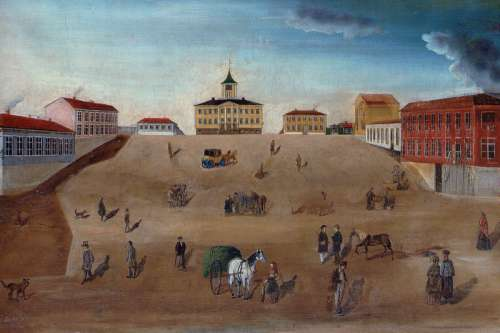 Old town hall and market square in 1852 painting in Pori, Finland free photo