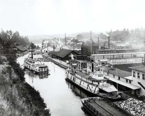 Oregon City and Willamette Falls in 1888 free photo