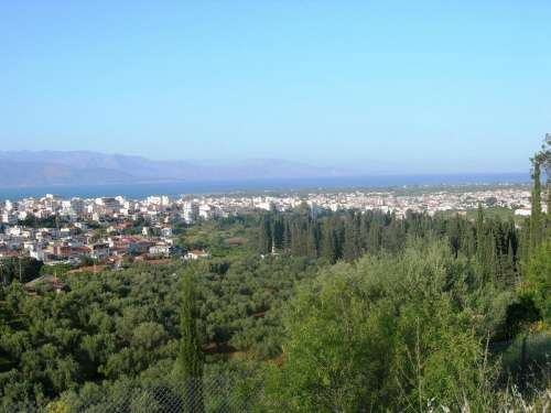 Overlook of the town of Aigio, Greece free photo