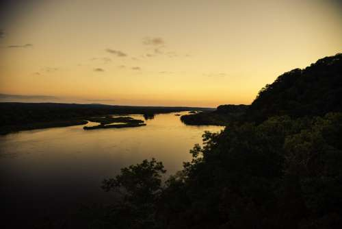 Overlook of the Wisconsin River Valley at Ferry Bluff at Dusk free photo