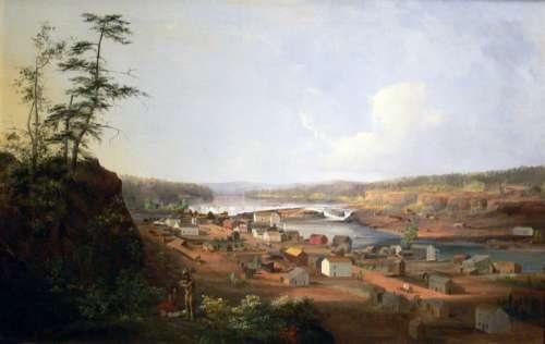 Painting of Oregon City around 1850s  free photo