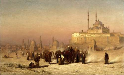 Painting of the tombs of Cairo in the 1870s, Egypt free photo