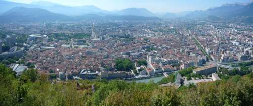 Pano Grenoble cityscape in France free photo