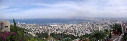 Panorama of Haifa from Mount Carmel in Israel free photo