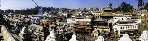 Panorama of the Pashupatinath Temple and buildings in Kathmandu, Nepal free photo