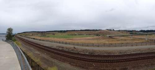 Panorama of the train tracks in Tacoma, Washington free photo