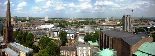 Panoramic View of the city of Coventry, England free photo