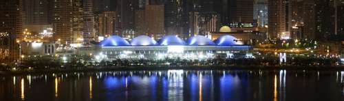 Panoramic view of the Expo Centre Sharjah by night in the United Arab Emirates free photo