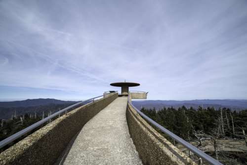 Path to the top of the tower under the sky at Clingman's Dome, Tennessee free photo