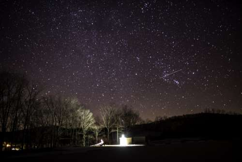 Pavilion lights and stars in the night sky at Echo Bluff State Park, Missouri free photo