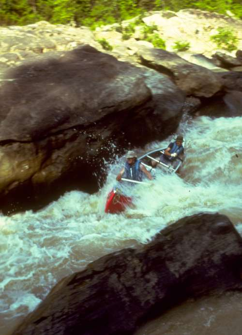 People kayaking in the Rapids in Big South Fork, Tennessee free photo