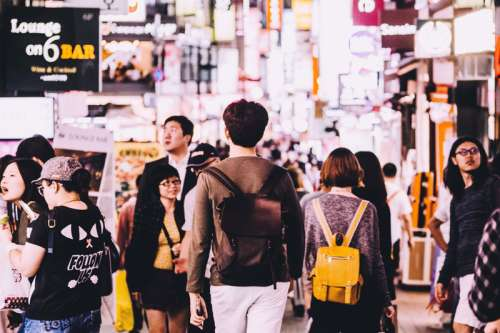 People walking on the streets in Seoul, South Korea free photo