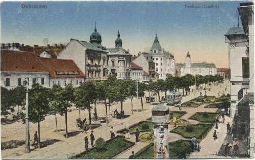 Piac Street in 1910s in Debrecen, Hungary free photo