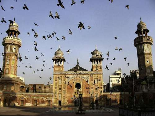 Pigeons flying over Wazir Khan Mosque in Lahore, Pakistan free photo