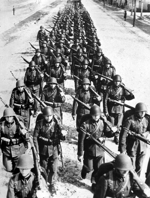 Polish Infantry during the Invasion of Poland in World War II free photo