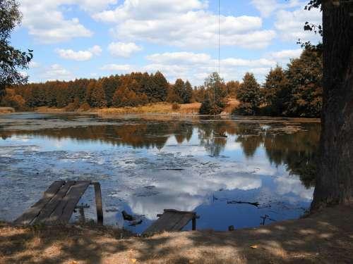 Pond landscape in Ukraine free photo