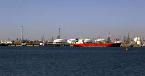 Port of Huelva with a ship in Spain free photo