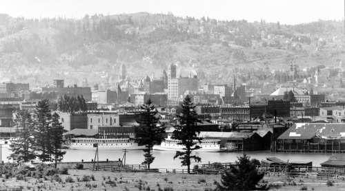 Portland Waterfront in 1898, Oregon free photo