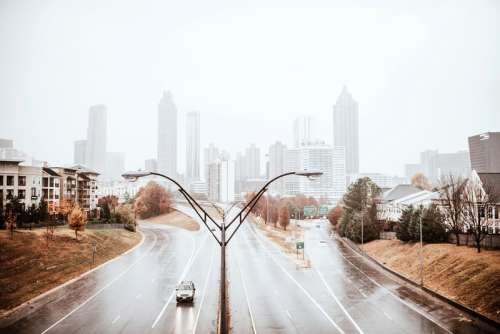 Rainy day Skyline with highways in Atlanta, Georgia free photo
