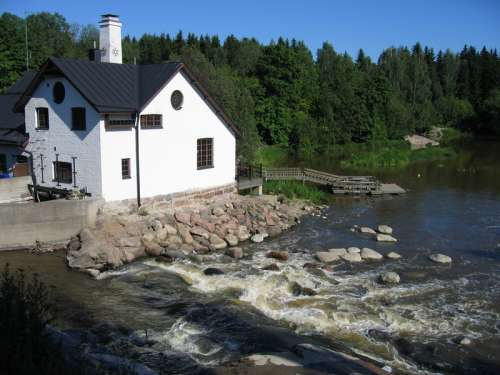 Rapids of river Vantaa in Finland landscape free photo