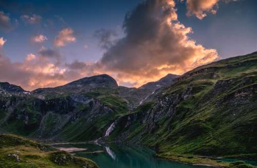 Red Clouds over the Mountains in Grossglockner, Austria free photo