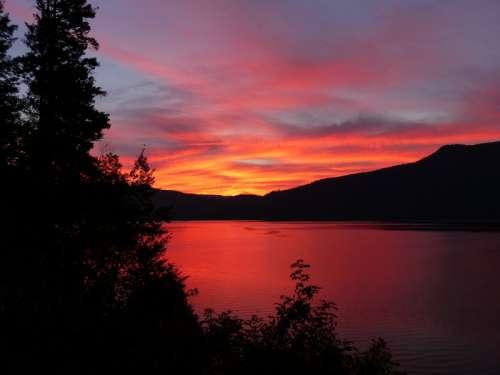 Red Dusk Skies in British Columbia, Canada free photo